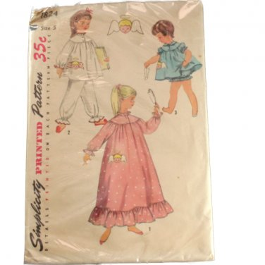 Simplicity 1824 Child Pajama and Nightgown Sz 5