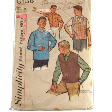 Simplicity 5156 1960s Mens Shirt & Pullover Sz Chest 38, Neck 15