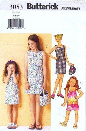 Butterick 3053 Sewing Pattern Girls Dress Bag Size 7 - 8 - 10