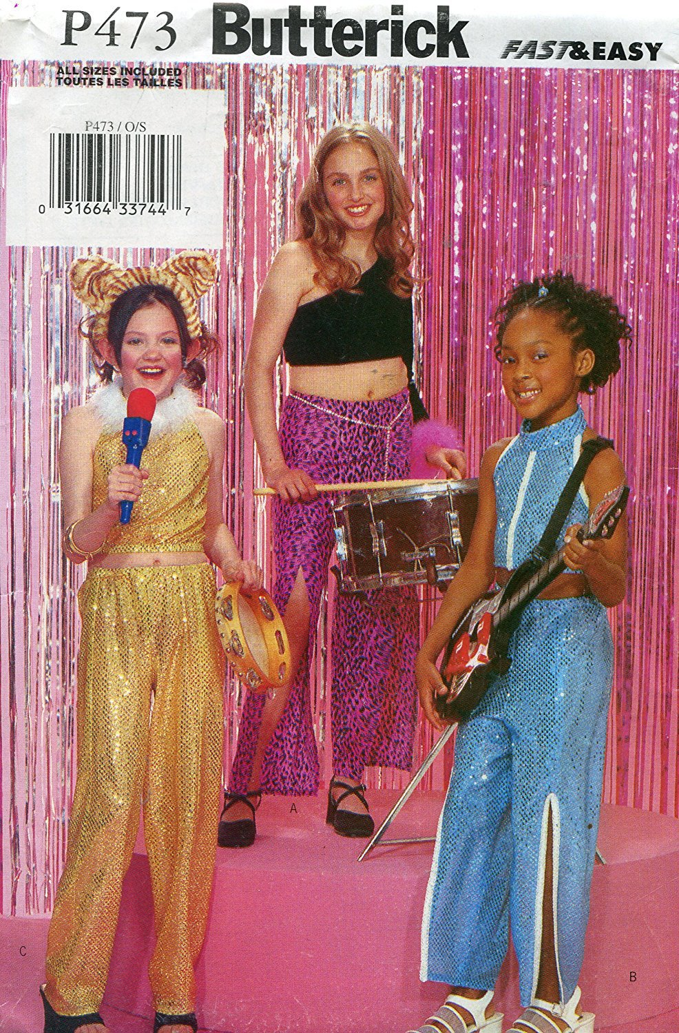 Butterick Pattern 3183 ~ Girls' Rock Star Costume (Top & Pants) ~ Sizes S-XL (4-14)