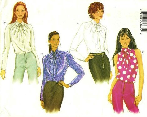 Misses Blouse Sewing Pattern Collar Variations Pleated Neckline Butterick 3197 Size 12,14,16