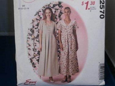 McCall's Sewing Pattern 2570 Woman's Dress 8 10 12 14