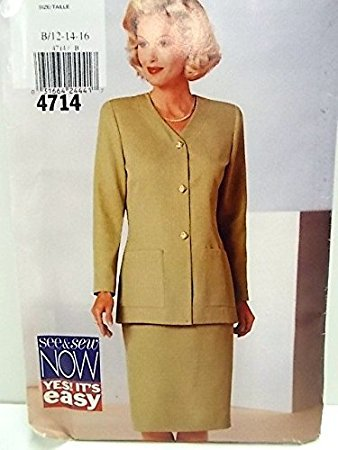 Womens Suit Pattern, See & Sew, Butterick 4714,  Size (12,14 16)