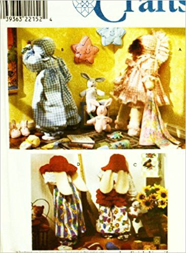 SIMPLICITY 8387 - 25' DOLLS / STUFFED ANINMAL BUNNIES WITH CLOTHING & ACCESSORIES SEWING PATTERN