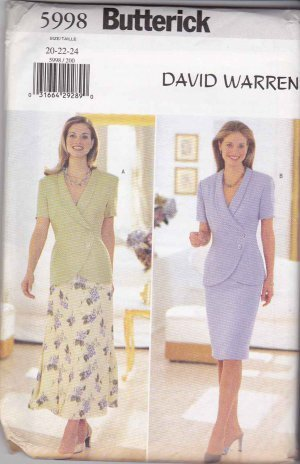 Butterick 5998 Suit Shawl Collar Top A-Line Straight Skirts by David Warren - Sizes 14-16-18
