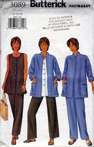 Misses Unlined Jacket A Line Tunic Straight Pants Sewing Pattern Butterick 3089 Easy (8-10-12)