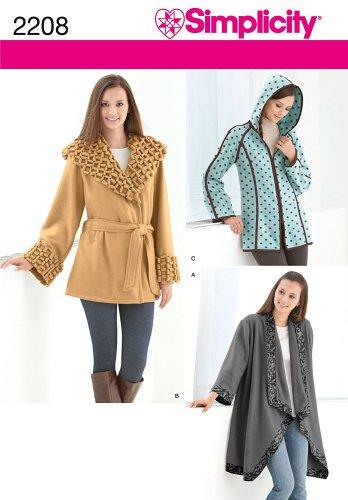 Simplicity Pattern 2208 Misses Fleece Jackets, Sizes XS-S-M-L-XL