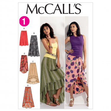 McCall's Pattern 6567 Misses Loose Fitting Skirts with Hem Variations Size XS-Med