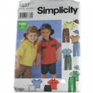 Simplicity  5537 Toddlers Pants, Shorts, Shirt, Pullover Top and Hat  Size A 1/2,1,2,3,4
