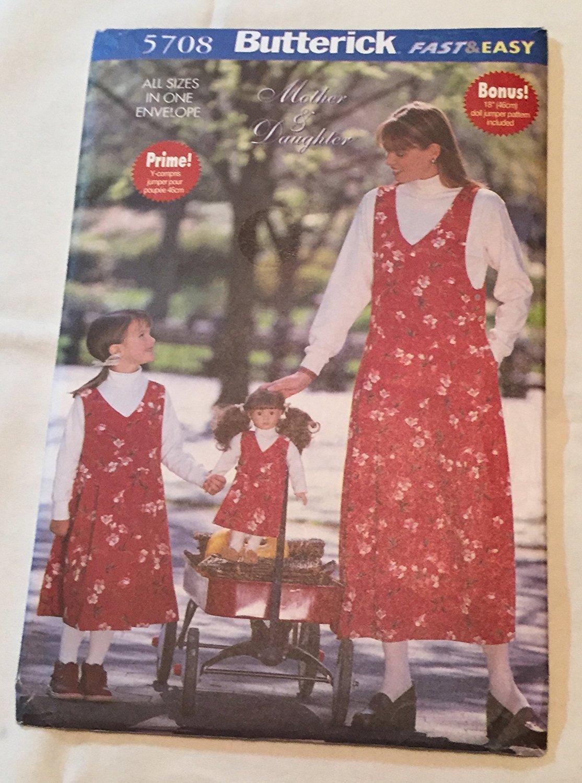 """Butterick 5708 Misses' / Children's / Girls' / 18"""" Doll Jumper (all sizes in one envelope)"""