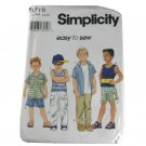 Simplicity 8719 Sewing Pattern Boys Shirt, Pants or Shorts and Knit Top Size AA 3,4,5,6