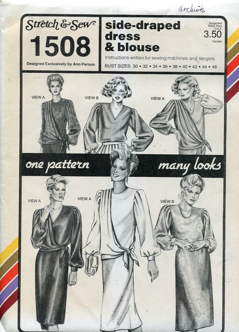 Stretch & Sew Pattern 1508 ~ Side-Draped Dress & Blouse ~ Bust 30-46