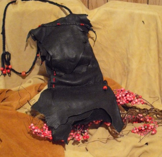 SOLD       Handcrafted Black Deer Skin Purse (medium)