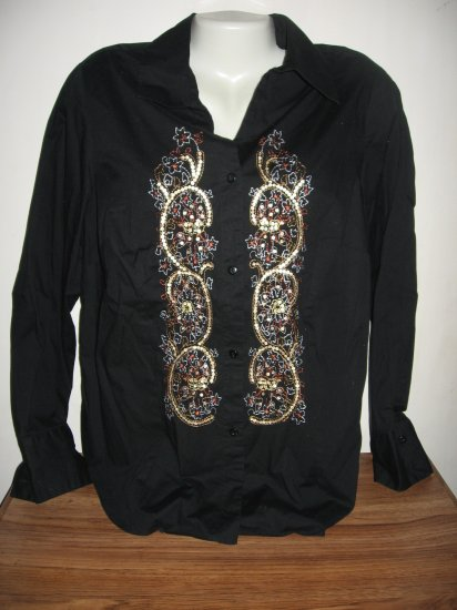 COLDWATER CREEK BLACK STRETCH EMBROIDERED SHIRT TOP M