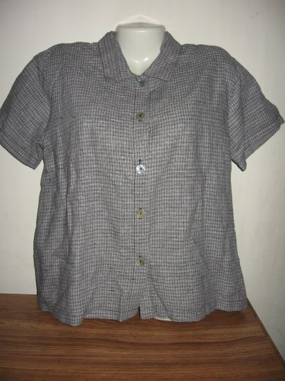 HOT COTTON LINEN COTTON WEAVE BUTTON SHIRT TOP SZ M GR8
