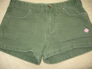 ABERCROMBIE CUTE GREEN DISTRESSED FLAP POCKET SHORTS 12