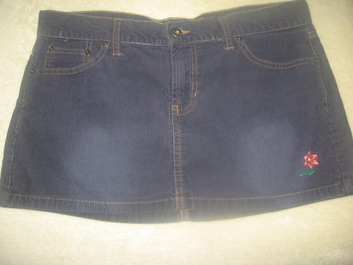 HOLLISTER SEXY NAVY CORDUROY EMBROIDERED MINI SKIRT 6