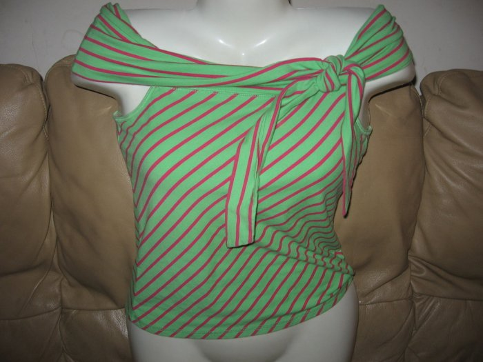 ABERCROMBIE SEXY GREEN PINK OFFSHOUDER STRETCH TOP L