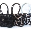 Trendy Giraffe Spring Tote Handbag: Black