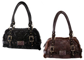 ViaNova Trendy Faux Fur Edged Bag - Brown
