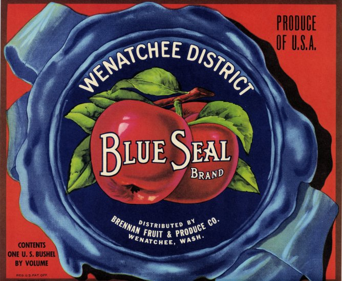 BLUE SEAL APPLE CRATE LABEL