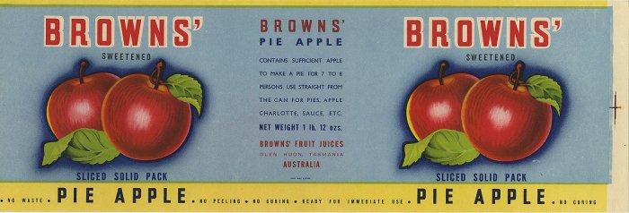 BROWNS' AUSTRALIAN PIE APPLE CAN LABEL