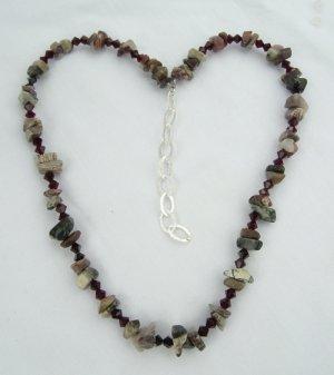 Red Silver Leaf Gemstone Necklace