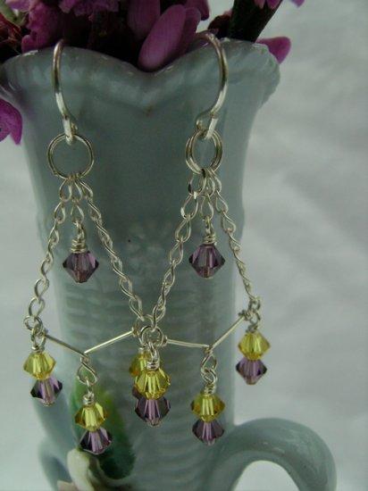 Purple and Topaz Crystal Chandelier Earrings