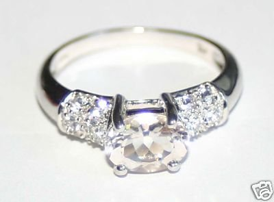 Ladies 14K Morganite and White Sapphire Ring