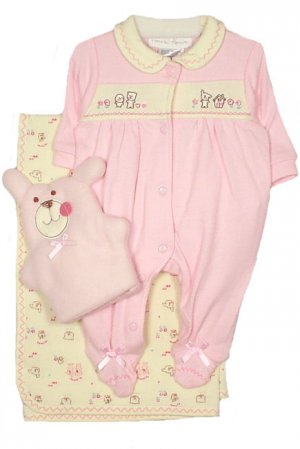 Preemie Pink Bear Set with Puppet (Fits infants 3-7 pounds)
