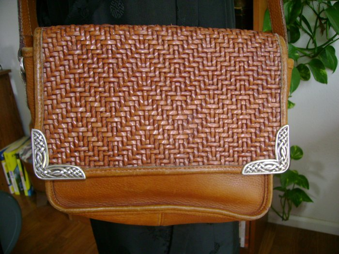 Brighton Brown Woven Leather Purse Shoulder Bag Silver Accents