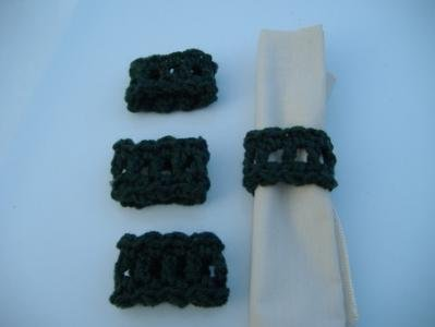 Set of 4 Sage Green or Your Color Choice Crochet Napkin Rings