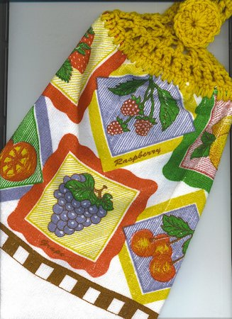 Fruit in Squares- Set of two Crocheted top Kitchen Towels