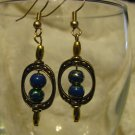 Gold Framed Blue/Gold Swirl Bead Earrings