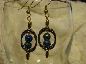 Gold Framed Blue/Gold Swirl Bead Earrings