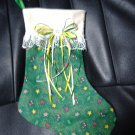 Christmas Stocking. Green with Candy Canes, Hearts, Trees and Gingerbread men