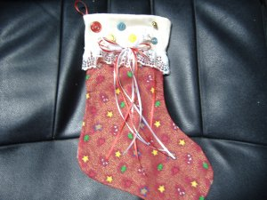 Christmas Stocking - Red with Candy Canes, Hearts, Trees and Gingerbread men