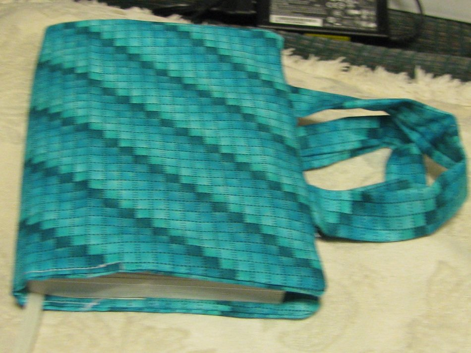 Fabric Paperback Book Covers With Handles : Handmade fabric paperback book cover in aqua color check