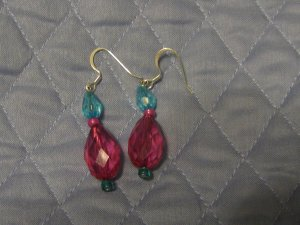 Tear-Drop Earrings in Blue and Pink