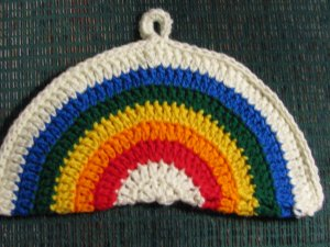 Crochet Rainbow Potholder