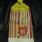 Stripes and Flowers - Set of Two Crochet Top Kitchen Towels