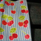 Cherries on Blue Stripes - Set of Two Crochet Top Kitchen Towels