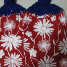 White Flowers on Red - Set of Two  Crochet Kitchen Towels