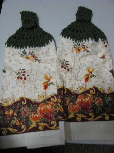 Autumn Bounty- Set of Two  Crochet Kitchen Towel