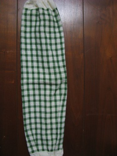 Green and cream Checks Grocery Bag Holder.
