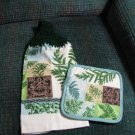 Ferns--    Set of two Crochet Top Kitchen Towels and Potholder