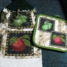 Apples and Pears --    Set of two Crochet Top Kitchen Towels and Potholder.