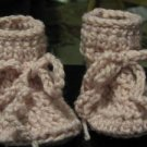 Handmade Crochet Baby Booties in Pink. for 6- to 12 month olds