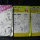 3  Hot Iron Transfers- Aunt Martha -Hey Diddle Diddle, Child's Prayer, Tropical Designs