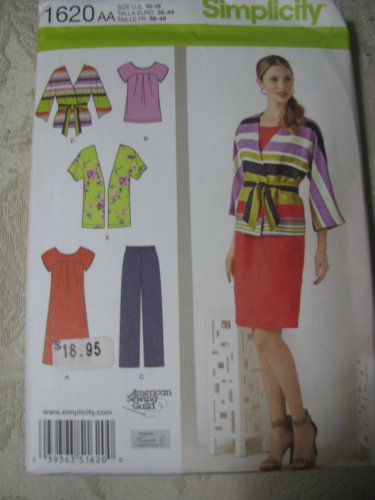 Simplicity 1620 Sizes 10-18 Misses'/Women;s Pullover Dress or Tunic, etx.